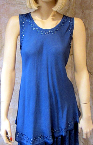 Bias Solid Denim Blue Sleeveless Top