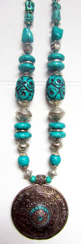 Tibetan Bohemian Style Beaded Necklace in Silver/Turquoise