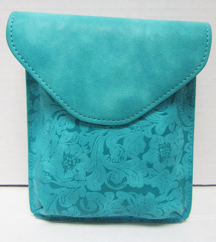 Turquoise Leather Clutch