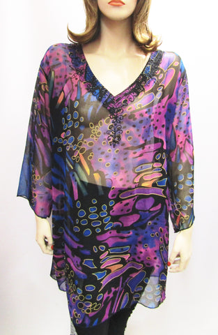 Embellished Sheer Tunic in Purple Print