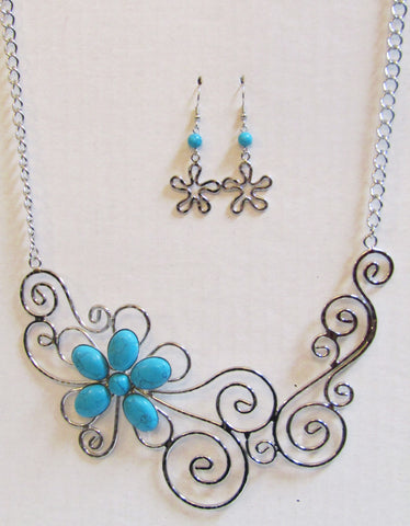Fancy Floral Turquoise on Hammered Silver Tone Wire