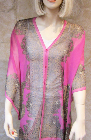 Silky Sheer Button Poncho - Hot Pink