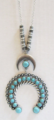 Turquoise Squash Blossom Drop Long Necklace