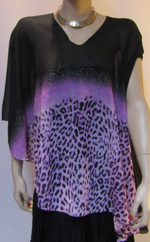 Chiffon Vest - Purple Cheetah