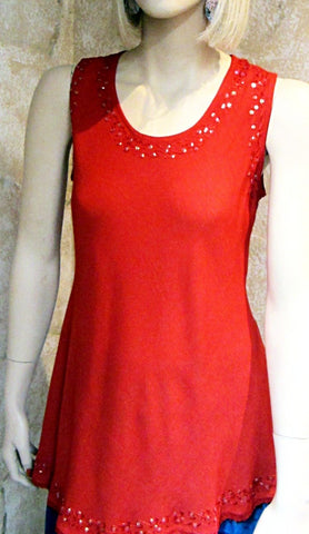 Bias Solid Red Sleeveless Top