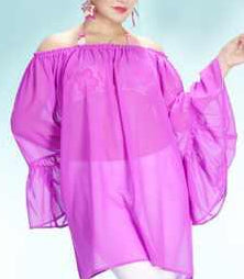 Fuchsia Sheer Bell Sleeve Top