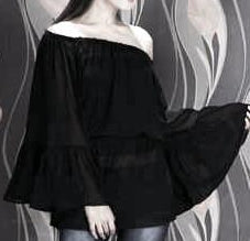 Black Sheer Bell Sleeve Top