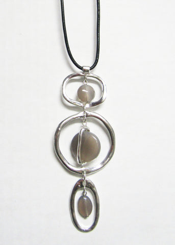 Long Black Cord with Silver Metal Pendant - Agate Drops