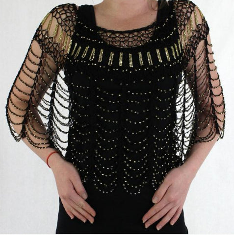 Beaded Poncho-Black/Gold