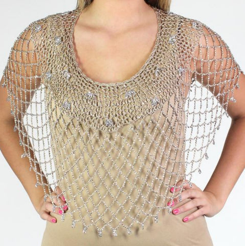 Beaded Poncho-Champagne/Silver