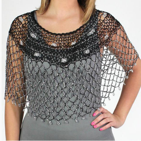 Beaded Poncho-Black/Silver