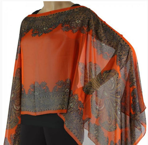 Silky Sheer Button Poncho - Orange