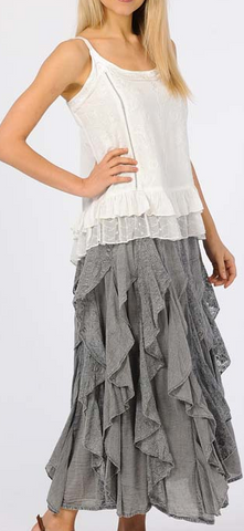 Oh So Feminine Ruffled Skirt! - Gray