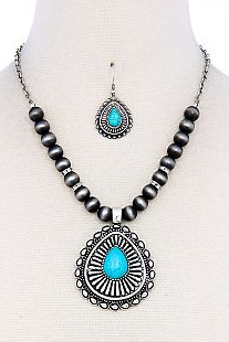 Turquoise Chunky Necklace Set