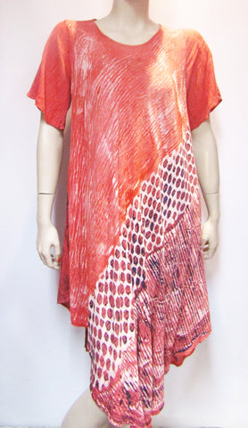 Coral Bias Print Dress with Sleeve