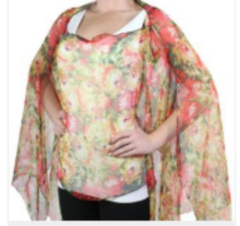 Silky Sheer Button Poncho - Coral Floral