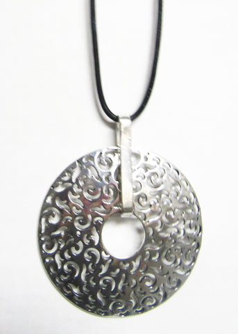 Long Black Cord with Silver Metal Pendant -Filigree Circle