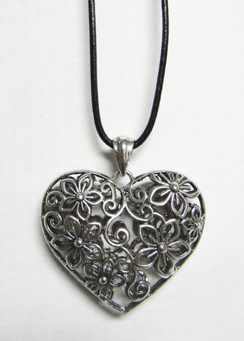 Long Black Cord with Silver Metal Pendant - Filigree Heart