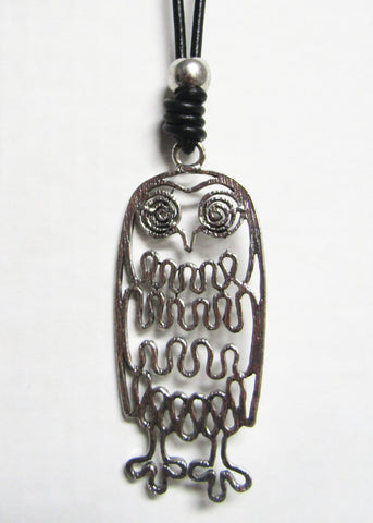 Long Black Cord with Silver Metal Pendant - Filigree Owl