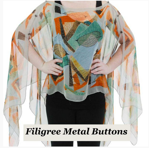 Silky Sheer Button Poncho - Gray Abstract with Metal Filigree Buttons