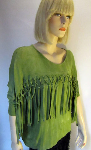 Avacado Dolman Sleeve Top with Knotted Fringe Detailing