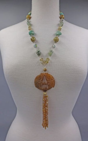 Handcarved  Fish Pendant with with Semiprecious Stones