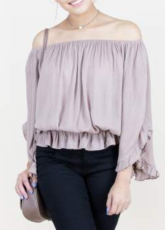 Flowy Ruffled 3/4-Sleeve Cotton Top