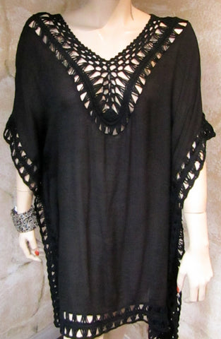 Black Crochet Trimmed Poncho