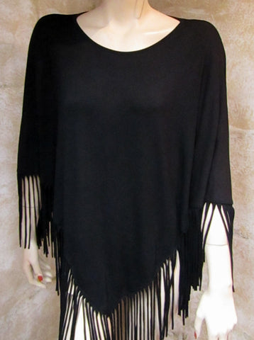 Fringed Black Poncho