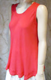 Bias Solid Coral Sleeveless Top