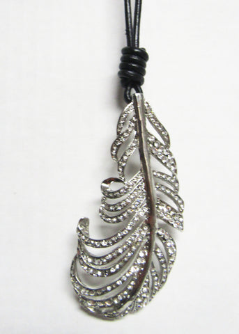 Long Black Cord with Silver Metal Pendant - Leaf