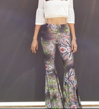 Bell Bottom Palazzo Pant - Abstract Floral-Print