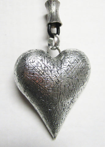 Long Black Cord with Silver Metal Pendant - Hollow Puffed Heart