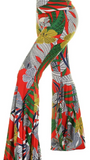 Bell Bottom Palazzo Pant - Red Leaf-Print