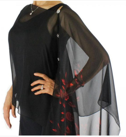 Silky Sheer Button Poncho with Crystal Buttons - Black with Red Roses