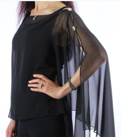 Silky Sheer Button Poncho with Crystal Buttons -Black with Red Rose Trim