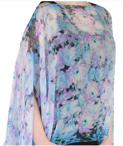 Silky Sheer Button Poncho - Blue Floral