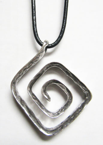 Long Black Cord with Silver Metal Pendant -Swirl
