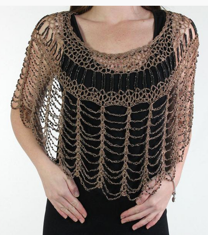 Beaded Poncho-Taupe/Black