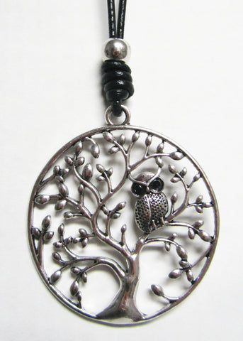 Long Black Cord with Silver Metal Pendant - Tree Owl