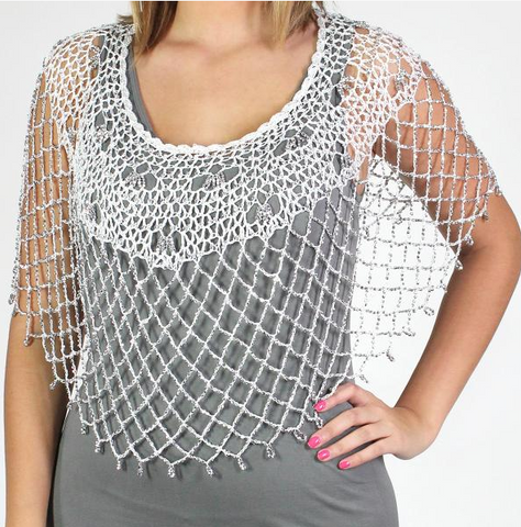 Beaded Poncho-White/Silver