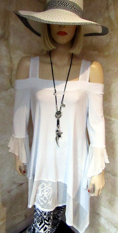 Cold Shoulder Tunic Top - White