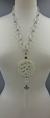 Opulent Hand Carved White Jade and Crystal Pendant