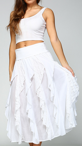 Oh So Feminine Ruffled Skirt! - White
