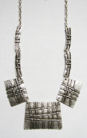 Antique Silver Plated  Zamak Necklace - Weave