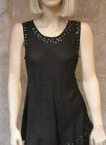 Bias Solid Black Sleeveless Top