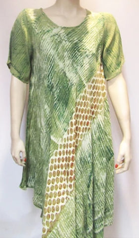 Bias Dress with Sleeve in Green Print