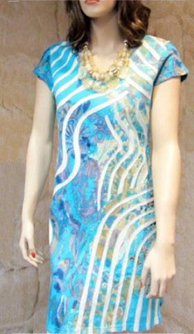 Cotton Print Applique Short Dress - Turquoise