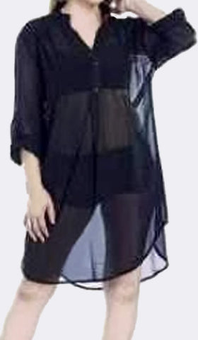 Sheer Black Long Sleeve Shirt-Style Dress/Cover-Up