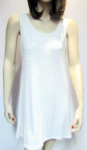Silver Studded White Tunic Dress